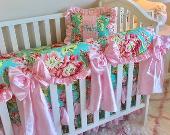 Baby Girl Crib Sets, Huge bows, Pink bows for crib, Love Bliss Crib Set for Girl, Floral Nursery, Baby Girl Pink Nursery, Ritzy Baby Bedding