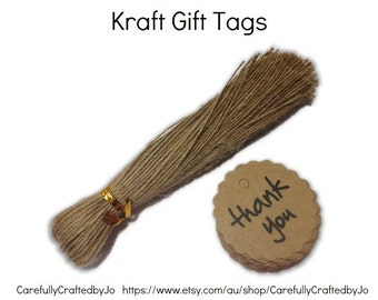 Thank You Scallop Circle  - Kraft Gift Tag - Set of 25,50,100+Twines - Perfect for Perfect for wedding, baby shower favours, goodie bag tags