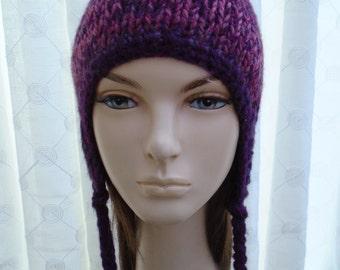 BURGUNDY earflap hat chullo soft British wool blend pink red soft OOAK
