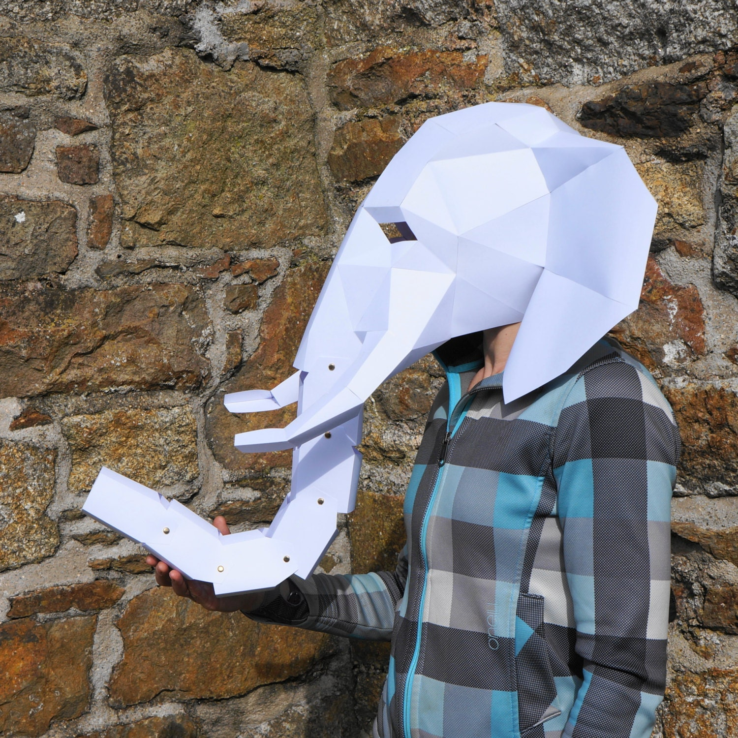 Elephant Mask make your own 3D Low-Poly Mask with PDF
