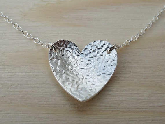Silver Heart Necklace With Flower Pattern - Sterling Silver