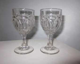 Lovely Antique Victorian EAPG 1860 Cape Cod Glass Company double wedding ring wine glass,Flint Glass/pattern/pitcher/crystal/Wedding