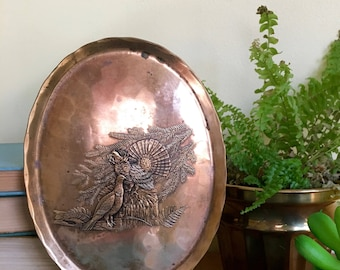 Vintage Bronze Hanging Plaque, Small Tray, Grouse & Turkey, Embossed Brass