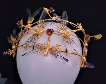 Angelic golden dragonfly crown!