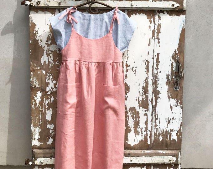 Ready to Ship: Soft Pink Linen Sundress Size S/M, Linen Strap Dress, Womens Sundress, Linen Jumper Dress, Linen Dress Women Jumper Pinafore