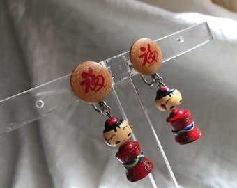 Antique 1930s Earrings Chinese Wooden Dolls Hand Painted Hand Made Screw Backs Cute!