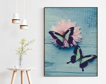 Butterfly Love, colorful art print, blue wall art, butterfly photograph, botanical, natural, whimsical art, cottage decor, nature art