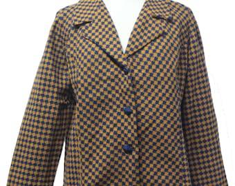 Orange Navy Houndstooth Check Plus Size Vintage Blazer