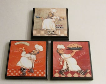 Kitchen Chef Room Wall Plaques   Set Of 3 Chef Kitchen Room Decor   Chef  Cook Room Signs