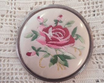 Rose Embroidery Compact Mirror