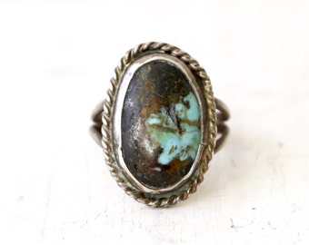 SALE! VC-39, Southwestern, Native American vintage turquoise and stearling silver ring