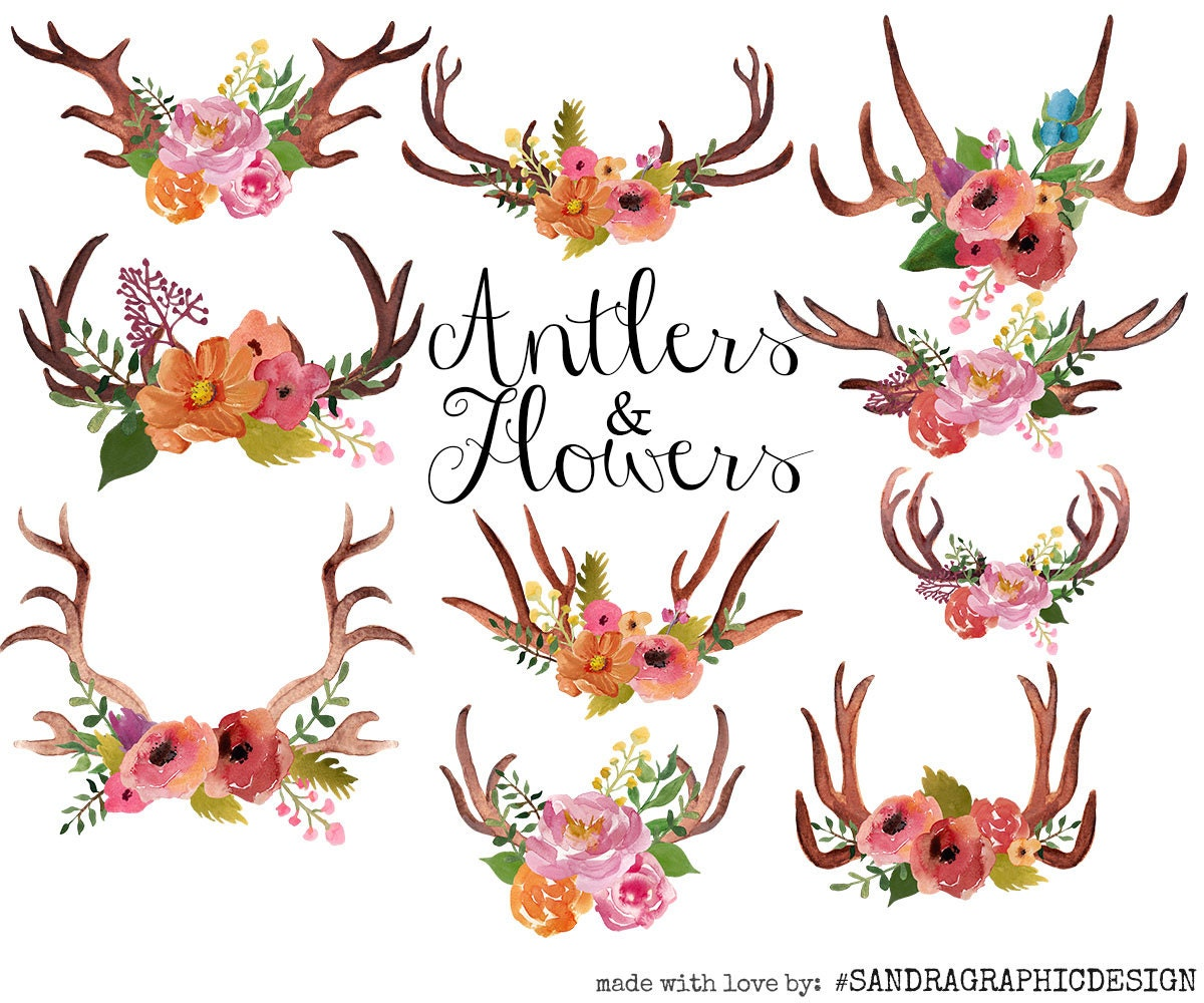 Antlers clip art, watercolor clip art, watercolor antlers ...