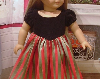 Black Velveteen and Stripe Christmas Dress for American Girl Dolls