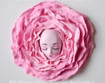 "3D Wall Art Shabby Chic Roses Painting, Textured Composition ""Sweet Dreams"", 3D Canvas Decoration Princess Room, Abstract   Sculpture Flower"