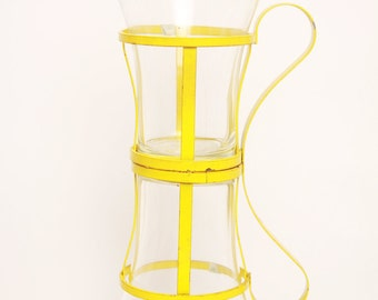 Rare Mod Vintage Drinking Glasses With Yellow Metal Frame Set of 2
