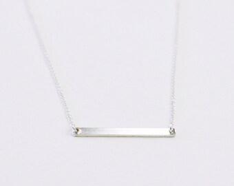 Minimal Bar necklace - horizontal thin sterling silver bar - minimalist necklace - skinny bar necklace - sterling silver chain - Silver bar