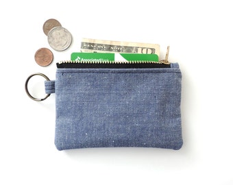 Keychain Wallet Coin Purse Zipper Pouch Blue Chambray