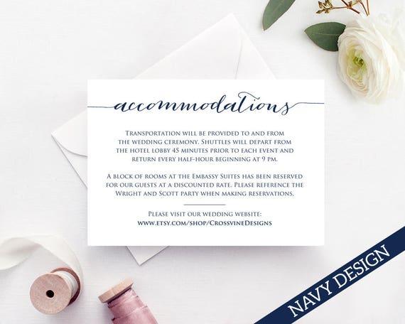 Accommodations Card Insert Wedding Information Card Template - Wedding invitation templates: hotel accommodations template for wedding invitations