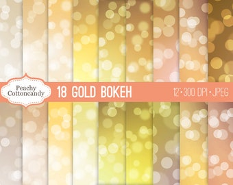 BUY 2 GET 1 FREE Gold Bokeh Digital Papers - bokeh background digital paper - golden yellow champagne bokeh backgrounds  -Commercial Use Ok