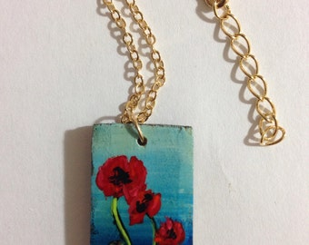Hand painted poppy pendant with necklace