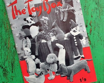 The Toy Box 10 Quickly Knitted Toys by Penelope Vintage 1950s 1960s knitting patterns book 50s 60s dogs monkey rabbit giraffe duck kangaroo