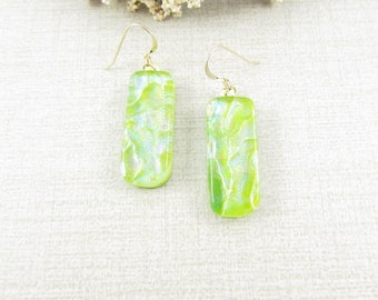 Green Dichroic Glass Earrings - Green Glass Hanging Earrings - Fused Dichroic Glass Dangle and Drop Earrings - Dichroic Glass Jewelry