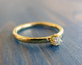 The Princess. 18K Gold Hammered Textured Band Set With 12pt Diamond. Hand Made Ring. Fine Jewelry. Gold Solitaire Engagement Ring. Proposal.
