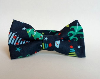 Little Boys Christmas Bow Tie - Navy Blue with Christmas Trees - Toddler Navy Bow Tie - Pre-Tied Bow Tie - Size Infant, Toddler, Youth