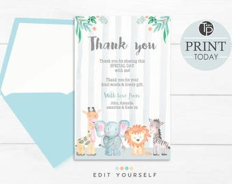 JUNGLE THANK YOU Card, Instant Download, Party Thank you, Jungle Animal Thank you, Baby Shower Thank you Cards, 1st Birthday Thank you