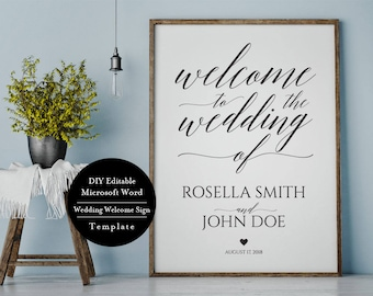 DIY Wedding Welcome Sign, Welcome to our Wedding Sign, Template, Welcome Wedding Template, Welcome Wedding Sign, Welcome Wedding, MSW136