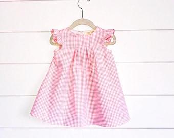 Pink gingham dress, pink baby dress, pink toddler dress pink girls dress gingham girls dress, girls easter dress, baby easter dress, flutter