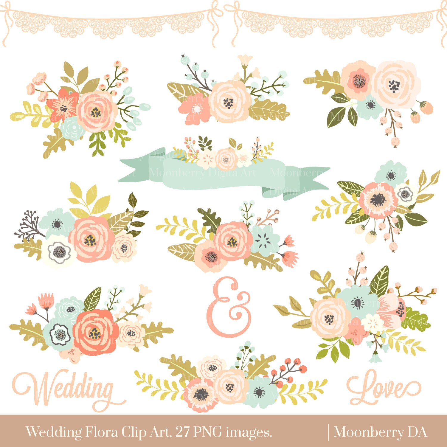 Wedding Floral Clipart Floral Clipart Flowers