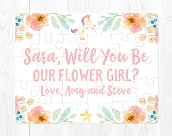 Flower Girl Proposal Puzzle Flower Girl Puzzle Proposal Flower Girl Proposal Gift Will You Be My Flower Girl Puzzle Peach Pink Unicorn
