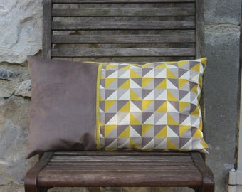Cushion green lime and taupe rectangular 30 x 50 cm