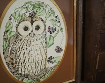 Vintage Owl Print -Illustration by Sheila Mannes-Abbott