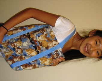 Cat Tote Bag With Blue Brown Cats In Basket