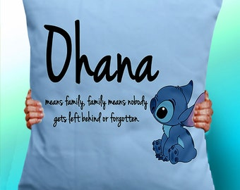 Ohana Means Family Means Nobody Get Left Behind or Forgotten  Lilo and Stitch typographic pillow - Cushion / Pillow Cover / Panel / Fabric