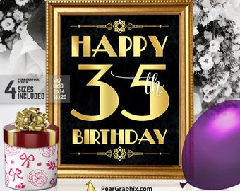 Happy 35th Birthday Sign, Printable 35th Birthday Decor Roaring 20s Gatsby Birthday Party Decoration, Art Deco Black Gold ▷ Instant Download