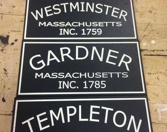 "6"" x 12"" Town Established signs"