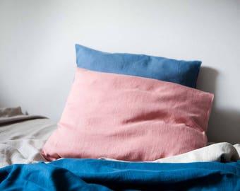Linen bedding shams, Set of 2 woodrose pink linen pillowcases, euro shams, king size slipcovers