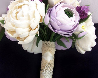 peony wedding bouquet - Bridal bouquet. lilac, lavender, white, ivory  bouquet. ivory peonies with freesias and lilac