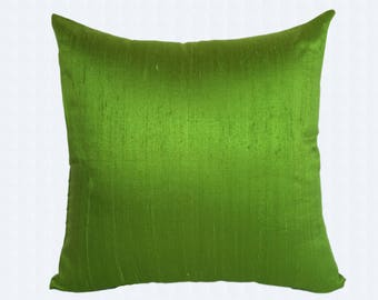 Dark Lime green silk decorative pillow cover.  Dupioni silk green cushion. Luxury silk pillow. Parrot green pillow. Custom made