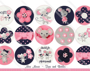 Miss Mouse M2MG  1 Inch Circles Collage Sheet for Bottle Caps, Hair Bows, Scrapbooks, Crafts, Jewelry & More