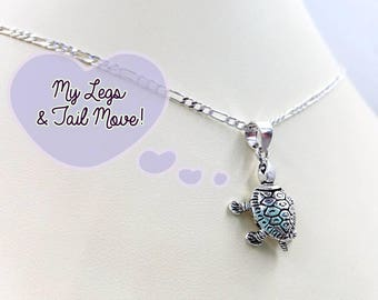 Moving Legs Sea Turtle Pendants! Sterling Silver Figaro Chain Necklace w 925 Sea Turtle, Infinity Clasp, Optional Pave Sea Turtle Earrings