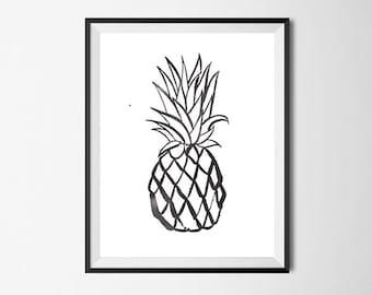 Pineapple Art Print, Watercolor, Tropical, Gallery Wall #31
