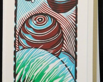 Hand pulled, woodblock printed greeting card, 'Planets'.