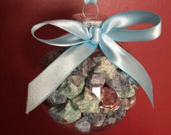 Hand-Folded Origami Lucky Star Christmas Ornament