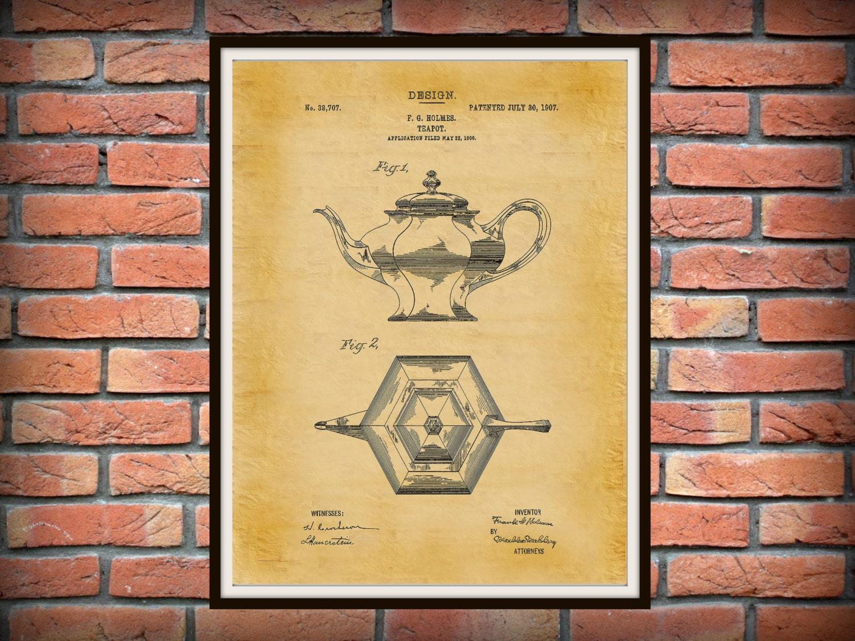 Patent 1907 Tea Pot - Coffee Pot - Wall Art Print - Kitchen Art ...