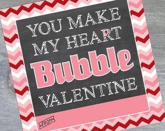 DIGITAL VALENTINE TAG - heart bubble