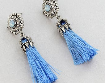 Blue Crystal Stud with Tassel Earrings | Dress up your outfit with these fabulous crystal and tassel earrings!